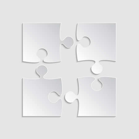 Puzzle Piece Square Infographic Four Step Diagram.