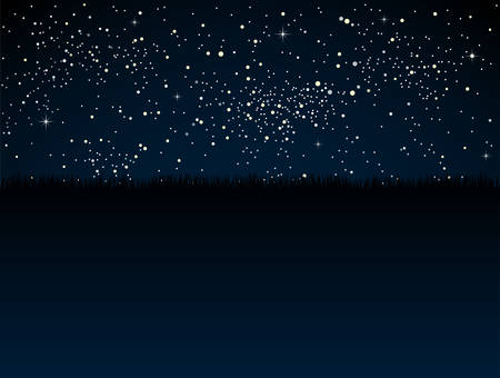 Realistic Starry Sky with Blue Glow. Shining Stars Dark Sky. Background, Wallpaper. Night Sky, Dark Blue Outer Space with Bright Stars. Shining Stars in Space. Dark Night Sky Steppe, Prairie, Grass.