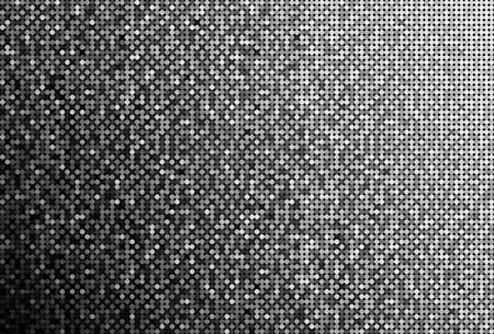 Banner Silver Sequins Background. Mosaic, Sequins Glitter Sparkle, Stars, Glow. Disco Party Background with Shiny Paillettes. Dot Glitter Texture. Disco Silver Banner.