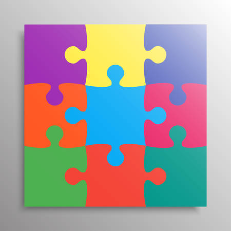Colorful Pieces Background Puzzle. Jigsaw Banner. Vector Illustration Template. Puzzle Game, Mosaic Tiles. Puzzles Pieces Children Background. Children Puzzle. Vector Illustratie