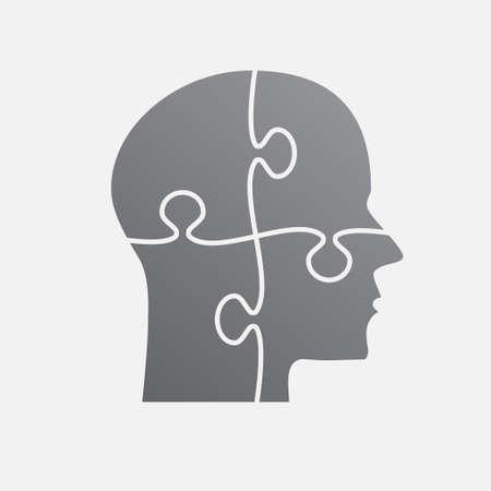 Grey Puzzle Piece Silhouette Head Vector Jigsaw.