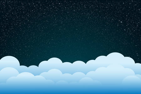 Starry Sky with Blue Clouds Moon. Shining Stars Dark Sky. Background, Wallpaper. Night Sky, Dark Blue Outer Space with Bright Stars. Shining Stars in Space. Blue louds, Moon.