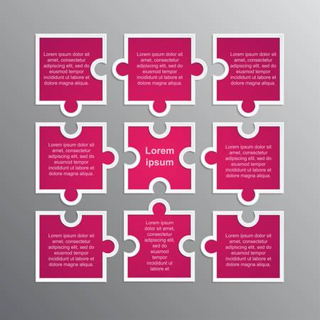 Puzzleteile Geschäftspräsentation. Quadratische Infografik. Rechteck 9 Schritte Prozessdiagramm. Abschnitt Service-Banner vergleichen. Hintergrund. Puzzleteile. Puzzle zusammenbauen. Marketing. Vektorgrafik