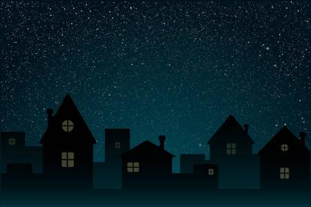 Realistic Starry Sky with Blue Glow. Shining Stars Dark Sky. Background, Wallpaper. Night Sky, Dark Blue Outer Space with Bright Stars. Shining Stars in Space. Night Houses, Street, Town, City.