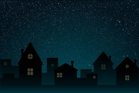 Realistic Starry Sky with Blue Glow. Shining Stars Dark Sky. Background, Wallpaper. Night Sky, Dark Blue Outer Space with Bright Stars. Shining Stars in Space. Night Houses, Street, Town, City. Illustration