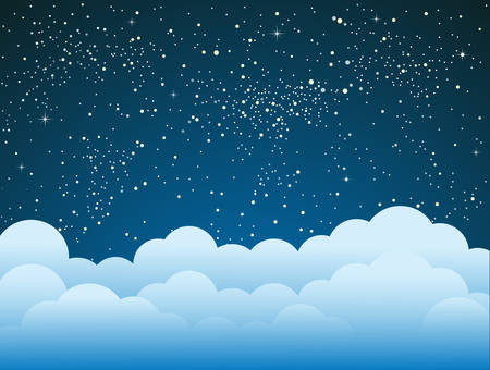 Starry Sky with Blue Clouds. Shining Stars Dark Sky. Background, Wallpaper. Night Sky, Dark Blue Outer Space with Bright Stars. Shining Stars in Space. Blue louds, Weather. Illustration