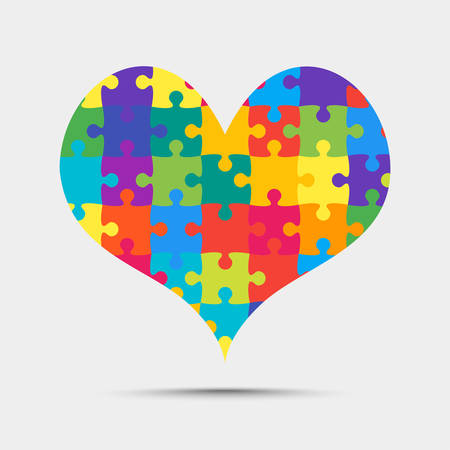 Many Colorful Pieces Puzzle Heart. Icon Vector Puzzle Illustration Isolated on White Background. Jigsaw Puzzle Logotype. Valentines Day, Love. Trio. Autism Awareness. Medical Symbol. Illustration