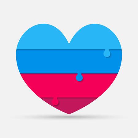 Color pieces puzzle of romantic heart. Jigsaw puzzle medical presentation infographic. Info love, business, relationship. Autism awareness. Four slices, pieces, parts heart. Four steps process.