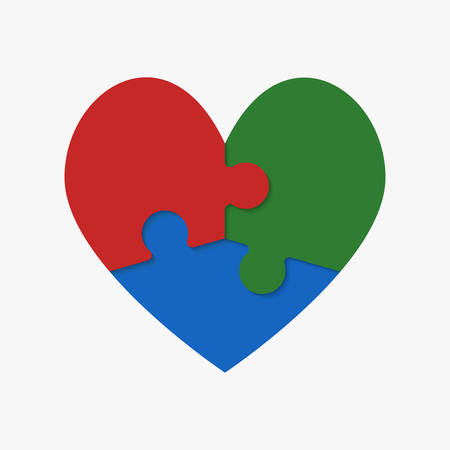 Bunte Puzzleteile des romantischen Herzens. Symbol, Logo, Logo-Vektor-Puzzle-Illustration. Puzzle am Valentinstag. Liebe, Medizin, Beziehungssymbol. Autismus Bewusstsein. Drei Scheiben, Stücke Teile Herz. Logo