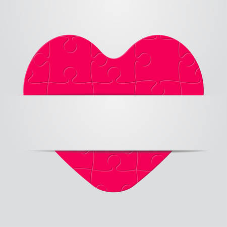 One Pink Piece Puzzle Heart. Icon Vector Puzzle Illustration. Ribbon. Jigsaw Logotype. Valentines Day Love. Couple. Autism Awareness. Medical Symbol. Romantic Romance Health. Ribbon Heart Banner.