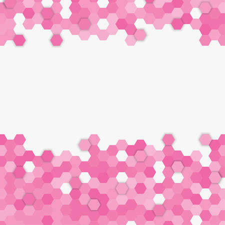 Light pink random hexagon mosaic, tiles, parts background. Banner honeycomb. Background with polygonal hexagonal tiles. Texture for pool, walls, bathroom kitchen flooring. Square geometric format.