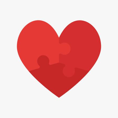 Rote Teile Puzzle des romantischen Herzens. Symbol, Logo, Logo-Vektor-Puzzle-Illustration. Puzzle am Valentinstag. Liebe, Medizin, Beziehungssymbol. Autismus Bewusstsein. Drei Scheiben, Stücke Teile Herz.