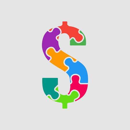 Vector puzzel stuk teken dollar. Jigsaw-lettertypevorm van gekleurd, veelkleurig, kleurstukken, onderdelen, tegels. Puzzeltype, alfabet, lettertype. Stuk speelgoed kinderen van stukkenpuzzel. Symbool usd dollar usd geld. Uitverkoop.