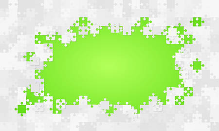 Green Background Puzzle. Jigsaw Banner. Vector Illustration Template Shape. Abstract Puzzle Background. Puzzle Game, Mosaic, Spread Out Mosaic Puzzle Tiles Background. Puzzles Pieces.