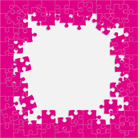 Piece puzzle background, banner, blank. Vector jigsaw section template isolated. Background with puzzle pink mosaic, details, tiles, parts. Square outline pattern jigsaw. Game group detail.