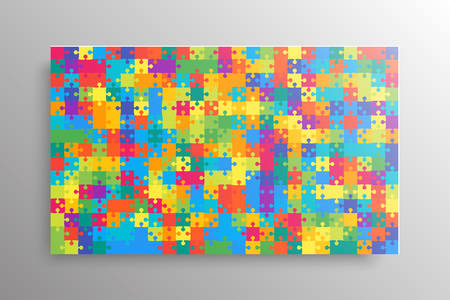 Piece puzzle background, banner, blank. Vector jigsaw section template isolated. Background with puzzle multicolor mosaic, details, tiles, parts. Rectangle outline pattern jigsaw. Game group detail.