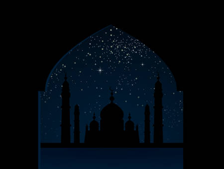 Silhouette mosque on starry night sky with blue glow. Shining stars on the dark sky. Arab night. Modern arabic banner, background, card, backdrop. Dome of mosque arabic month. Traditional holiday.