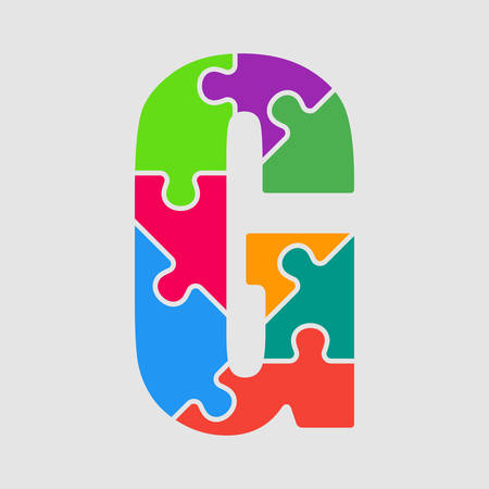 Vector puzzle piece letter - G. Jigsaw font shape of colored, multicolor, colour pieces, parts, tiles. Puzzle type, alphabet, font. Creative toy children of pieces jigsaw. Education symbol.