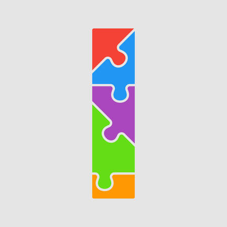 Vector puzzle piece letter - I. Jigsaw font shape of colored, multicolor, colour pieces, parts, tiles. Puzzle type, alphabet, font. Creative toy children of pieces jigsaw. Education symbol.