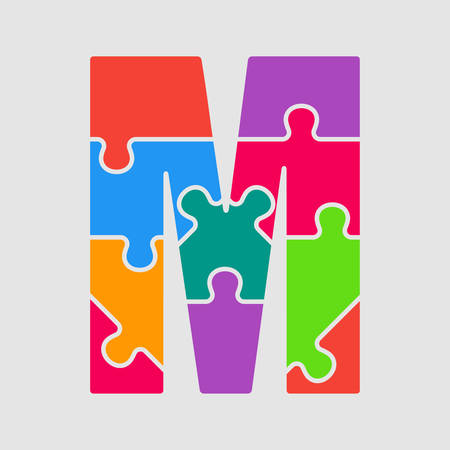 Vector puzzle piece letter - M. Jigsaw font shape of colored, multicolor, colour pieces, parts, tiles. Puzzle type, alphabet, font. Creative toy children of pieces jigsaw. Education symbol.