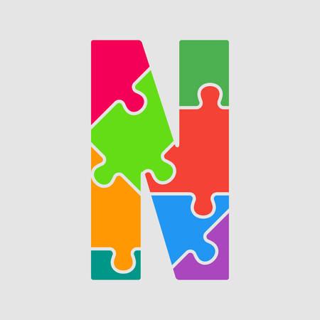 Vector puzzle piece letter - M. Jigsaw font shape of colored, multicolor, colour pieces, parts, tiles. Puzzle type, alphabet, font. Creative toy children of pieces jigsaw. Education symbol.