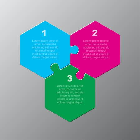 Sechseckiges Diagramm des Puzzles mit drei Teilen. Infografik zur Hexagon-Geschäftspräsentation. 3 Schritte, Teile, Teile des Prozessdiagramms. Abschnitt Banner vergleichen. Puzzle-Infografik. Vermarktungsstrategie.