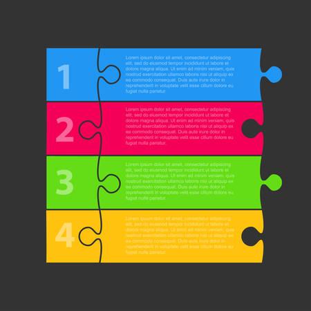 Four Colour Pieces Puzzle Infographic Presentation. 4 Steps Square Business Diagram. Four Section Puzzle Banner. Vector Illustration Template Shape. Jigsaw Puzzle Card. Tags, Label. Puzzles Pieces. Standard-Bild - 125130499
