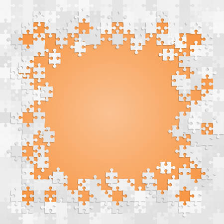 Pieces puzzle orange background, banner, blank. Vector jigsaw section template isolated. Background with puzzle grey mosaic, details, tiles, parts. Square outline frame jigsaw. Game group detail. Standard-Bild - 125130503