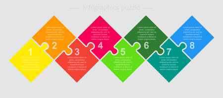 Eight pieces puzzle square diagram. Square business presentation infographic. 8 steps, parts, pieces of process diagram. Section compare banner. Jigsaw puzzle info graphic. Marketing strategy.