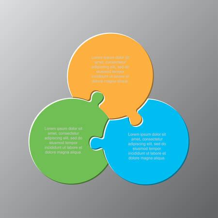 Kreisdiagramm mit drei Puzzleteilen. Infografik für die runde Geschäftspräsentation. 3 Schritte, Teile, Teile des Prozessdiagramms. Abschnitt Banner vergleichen. Puzzle-Infografik. Vermarktungsstrategie.