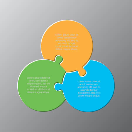 Three pieces puzzle circles diagram. Circular business presentation infographic. 3 steps, parts, pieces of process diagram. Section compare banner. Jigsaw puzzle info graphic. Marketing strategy.