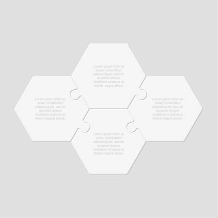 Four pieces puzzle hexagonal diagram. Hexagon business presentation infographic. 4 steps, parts, pieces of process diagram. Section compare banner. Jigsaw puzzle info graphic. Marketing strategy. Ilustração