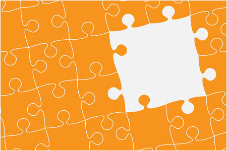 Pieces puzzle background, banner, blank. Vector jigsaw section template isolated. Background with puzzle orange mosaic, details, tiles, parts. Square outline frame jigsaw. Game group detail.