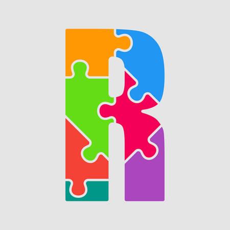 Lettre de pièce de puzzle de vecteur - forme de police R. Jigsaw de pièces colorées, multicolores, de couleur, de pièces, de tuiles. Type de puzzle, alphabet, police. Puzzle enfants de pièces de jouets créatifs. Symbole de l'éducation. Vecteurs