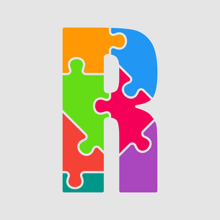 Vector puzzle piece letter - R. Jigsaw font shape of colored, multicolor, colour pieces, parts, tiles. Puzzle type, alphabet, font. Creative toy children of pieces jigsaw. Education symbol.