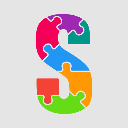 Vector puzzle piece letter - S. Jigsaw font shape of colored, multicolor, colour pieces, parts, tiles. Puzzle type, alphabet, font. Creative toy children of pieces jigsaw. Education symbol.