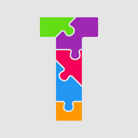 Vector puzzle piece letter - T. Jigsaw font shape of colored, multicolor, colour pieces, parts, tiles. Puzzle type, alphabet, font. Creative toy children of pieces jigsaw. Education symbol. Ilustração