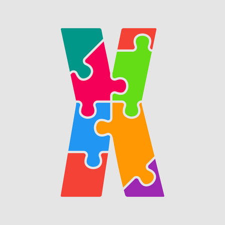 Vector puzzle piece letter - X. Jigsaw font shape of colored, multicolor, colour pieces, parts, tiles. Puzzle type, alphabet, font. Creative toy children of pieces jigsaw. Education symbol.