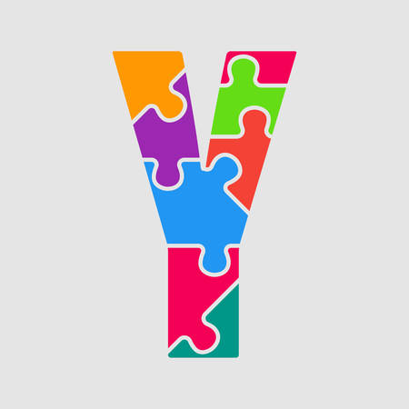 Vector puzzle piece letter - Y. Jigsaw font shape of colored, multicolor, colour pieces, parts, tiles. Puzzle type, alphabet, font. Creative toy children of pieces jigsaw. Education symbol.
