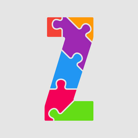 Vector puzzle piece letter - Z. Jigsaw font shape of colored, multicolor, colour pieces, parts, tiles. Puzzle type, alphabet, font. Creative toy children of pieces jigsaw. Education symbol.