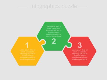 Sechseckiges Diagramm des Puzzles mit drei Teilen. Infografik zur Hexagon-Geschäftspräsentation. 3 Schritte, Teile, Teile des Prozessdiagramms. Abschnitt Banner vergleichen. Puzzle-Infografik. Vermarktungsstrategie. Vektorgrafik