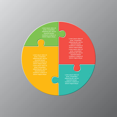 Four pieces puzzle circles diagram. Circular business presentation infographic. 4 steps, parts, pieces of process diagram. Section compare banner. Jigsaw puzzle info graphic. Marketing strategy. Ilustrace