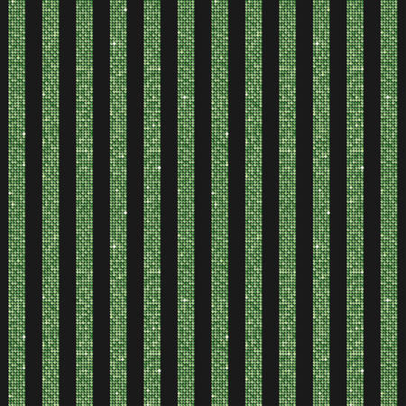 Parallel vertical lines banner or background with green sequins, glitters, sparkles, paillettes. Disco party background with shiny sequins. Green dot glitter texture. Metallic bright wall. Repeat.