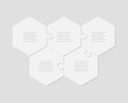 Five pieces puzzle hexagonal diagram. Hexagon business presentation infographic. 5 steps, parts, pieces of process diagram. Section compare banner. Jigsaw puzzle info graphic. Marketing strategy. Ilustrace