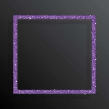 Square frame banner background with purple sequins, glitters, sparkles, paillettes. Disco party background with shiny sequins. Purple dot glitter texture. Metallic glowing cloth. Bright wall. Repeat.
