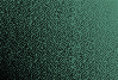 Horizontal banner or background with green sequins, glitters, sparkles, paillettes. Disco party background with shiny sequins. Green dot glitter texture. Metallic glowing cloth. Bright wall. Repeat.