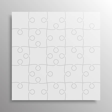 Piece puzzle background, banner, blank. Vector jigsaw section template isolated. Background with puzzle multicolor mosaic, details, tiles, parts. Square outline frame jigsaw. Game group detail. Ilustrace