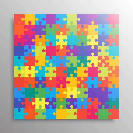 Pieces puzzle background, banner, blank. Vector jigsaw section template isolated. Background with puzzle color mosaic, details, tiles, parts. Square outline frame jigsaw. Game group detail.