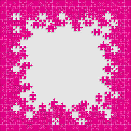 Pieces puzzle grey background, banner, blank. Vector jigsaw section template isolated. Background with puzzle pink mosaic, details, tiles, parts. Square outline frame jigsaw. Game group detail.