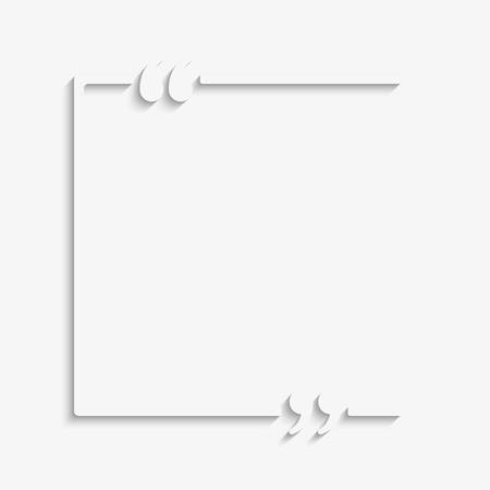 Blank template vector quote. Square with bracket. Empty frame square. Business card template information text message. Quote text form. Invitation, poster, background. Motivation inspiration. Ilustrace